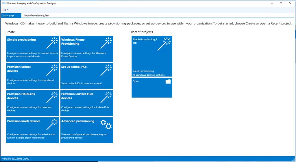 Windows Imaging and Configuration Designer (ICD) / Windows